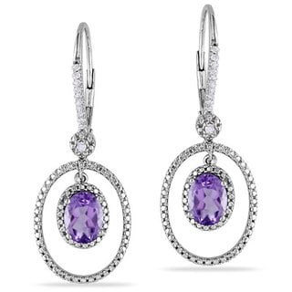 Miadora Silver Amethyst and 1/8ct TDW Diamond Earrings (G-H, I2-I3) with Bonus Earrings