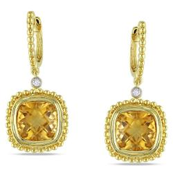 Miadora Goldtone Citrine and Diamond Accent Earrings