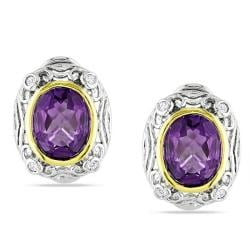 Miadora Sterling Silver Amethyst and 1/8ct TDW Diamond Earrings (G-H, I3)