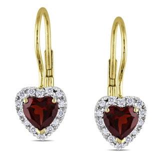 Miadora 10k Yellow Gold Garnet and 1/7ct TDW Diamond Earrings (G-H, I2-3)