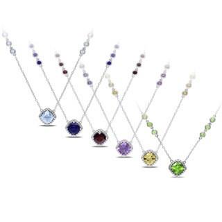 Miadora Sterling Silver Birthstone Necklace (16 inches)