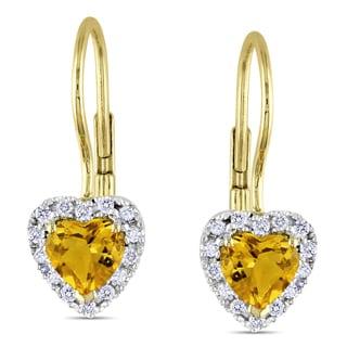 Miadora 10k Yellow Gold Citrine and 1/7ct TDW Diamond Earrings (G-H, I2-3)
