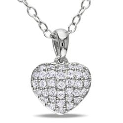 Miadora Sterling Silver 1/4ct TDW Diamond Heart Necklace (G-H, I3)
