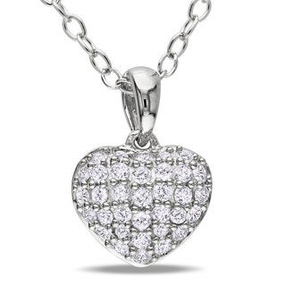 M by Miadora Sterling Silver 1/4ct TDW Diamond Heart Necklace (G-H, I3)