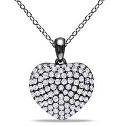 Miadora Sterling Silver 1ct TDW White Diamond Heart Necklace (H-I, I3)