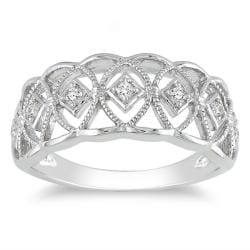 Miadora Sterling Silver 1/10ct TDW Diamond Ring (H-I, I3)