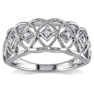 Haylee Jewels Sterling Silver 1/10ct TDW Round-cut Diamond Ring (H-I, I3)