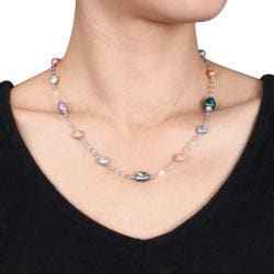 Miadora Silvertone Freshwater Multi-colored Pearl Chain Necklace (6-10 mm)