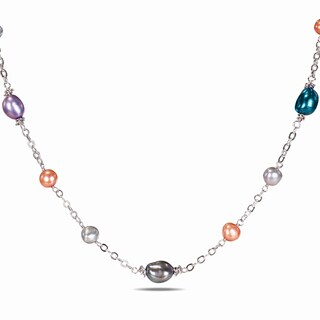 Miadora Silvertone Freshwater Multi-colored Pearl Chain Necklace (6-10 mm)