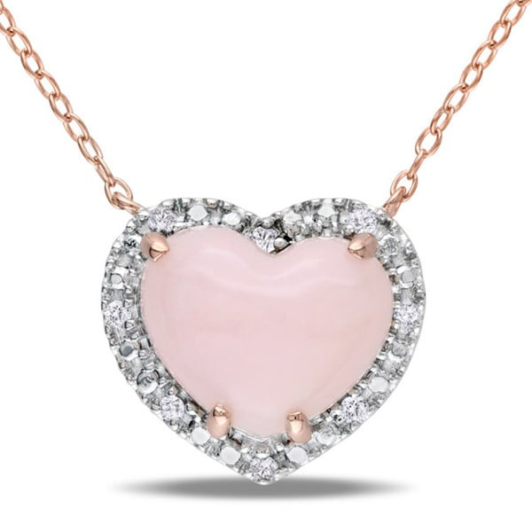 Miadora Pink Silver Pink Opal and 1/10ct TDW Diamond Heart Necklace (G-H, I3)