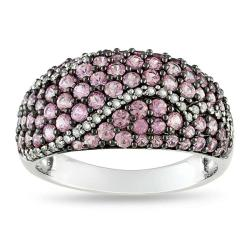Miadora Sterling Silver Pink Sapphire and 1/6 CT TDW Ring (G-H, I2)