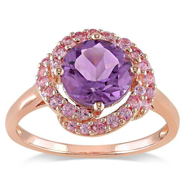 Miadora Miadora Pink Silver Amethyst and Created Pink Sapphire Cocktail Ring