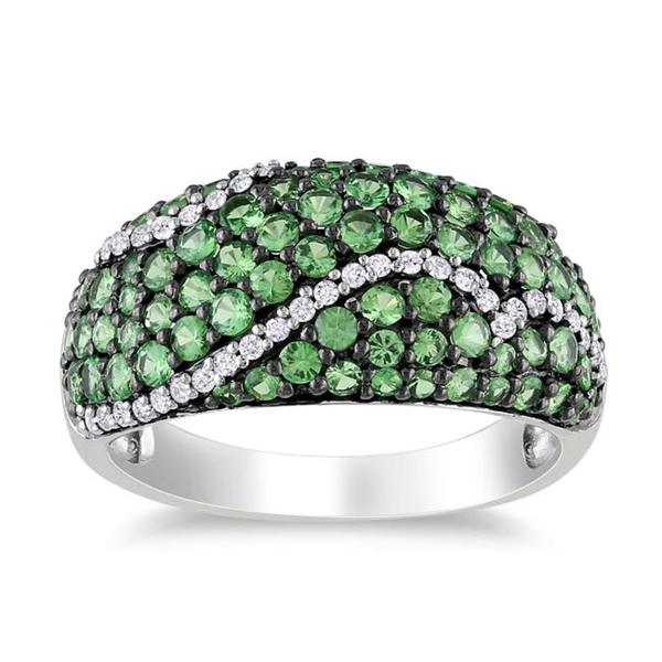 Sterling Silver Tsavorite and 1/6 CT TDW Diamond Ring (G-H, I2-I3)
