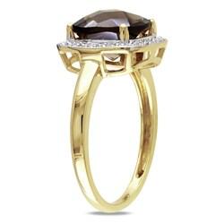 Miadora 10k Yellow Gold 3ct TGW Smokey Quartz 1/10ct TDW Diamond Ring (G-H, I2-3)