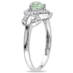 Miadora 10k White Gold Green Amethyst and 1/8ct TDW Diamond Ring (G-H, I2-I3)