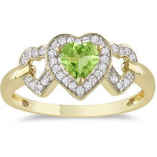 Miadora 10k Yellow Gold Peridot and 1/8ct TDW Diamond Heart Ring (G-H, I2-I3)