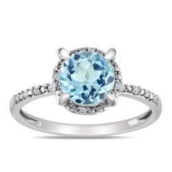 Miadora 10k White Gold Blue Topaz and Diamond Accent Ring (G-H, I2-3)