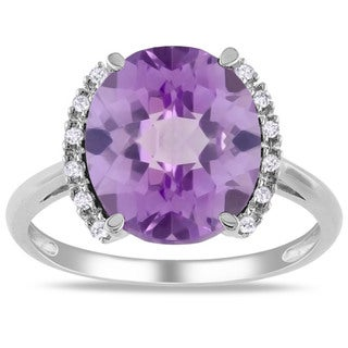 Miadora 10k White Gold Amethyst and Diamond Accent Cocktail Ring (G-H, I2-3)