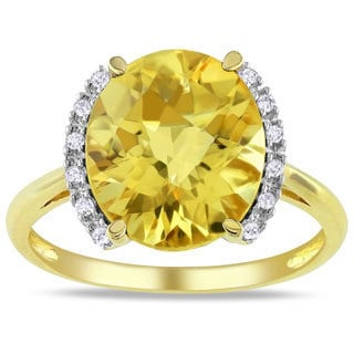 Miadora 10k Yellow Gold Citrine and Diamond Accent Ring (G-H, I2-3)