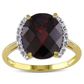 10k Yellow Gold Garnet and Diamond Accent Cocktail Ring (G-H, I2-3)