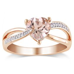 Miadora 10k Pink Gold Morganite and Diamond Accent Ring (G-H, I1-2)