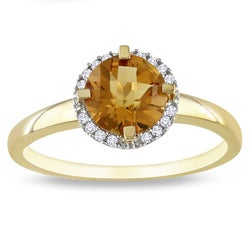 10k Yellow Gold Citrine and Diamond Accent Ring (G-H, I2-3)