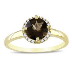 Miadora 10k Yellow Gold Smokey Quartz and Diamond Accent Ring (G-H, I2)