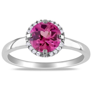 Miadora 10k White Gold Created Pink Sapphire and Diamond Accent Ring