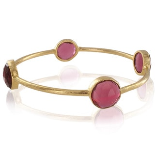 West Coast Jewelry ELYA Designs 22K Goldplated Garnet Bangle Bracelet