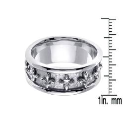 14k White Gold Men's Fleur de Lis Wedding Band