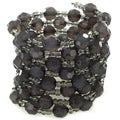 Smoky Grey Bead Coil Stretch Bracelet