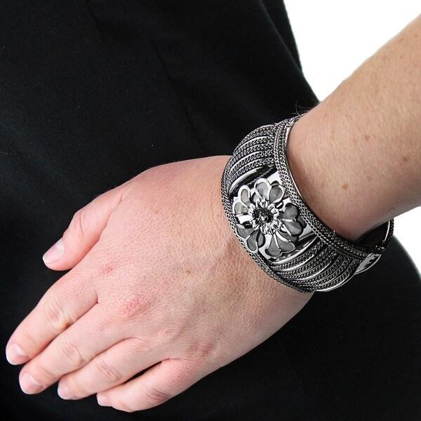Hematite Finish Hinged Bangle Bracelet