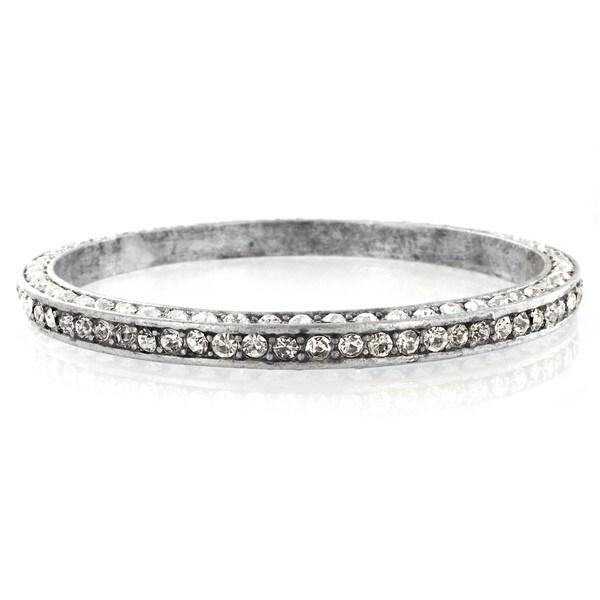 Silvertone Oxidized Crystal Bangle Bracelet