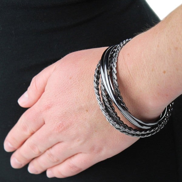 Polished and Patterned Stackable Hematite 8-piece Bangle Set