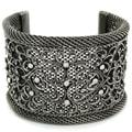 Silvertone Crystal Antiqued Mesh Cuff Bracelet