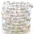 Silvertone Clear Faceted Bead Coil Stretch Bracelet