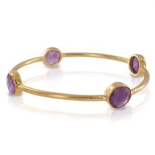 West Coast Jewelry ELYA Designs 22K Goldplated Amethyst Bangle Bracelet