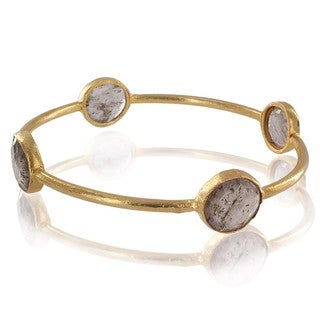 ELYA 22K Goldplated Rutilated Quartz Bangle Bracelet