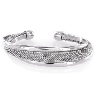 West Coast Jewelry Modernized Silver High-polished and Mesh Cuff Metal Bracelet