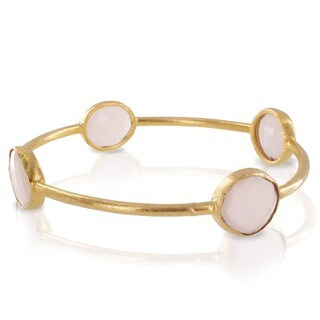 ELYA 22K Goldplated Rose Quartz Bangle Bracelet