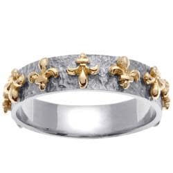 14k Two-tone Gold Men's Fleur de Lis 9mm Wedding Band
