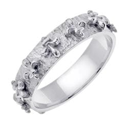 14k White Gold Fleur de lis Men's Wedding Band
