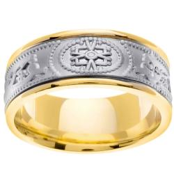 14k Two-tone Gold Men's Stamped Celtic Wedding Band