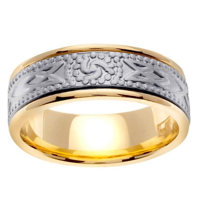 14k Two-tone Gold Men's Stamped Celtic Design Wedding Band