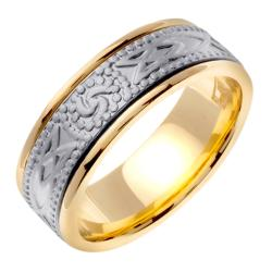 14k Two-tone Gold Men's Stamped Celtic Design Wedding Band