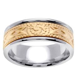 14k Two-tone Gold Men's Celtic Wedding Band