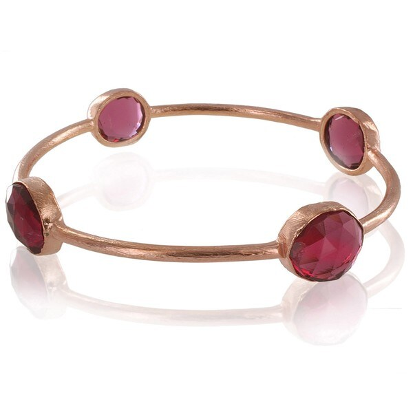 West Coast Jewelry ELYA Designs 18K Rose Goldplated Pink Ruby Bangle Bracelet