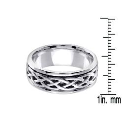 14k White Gold Men's Celtic Wedding Band