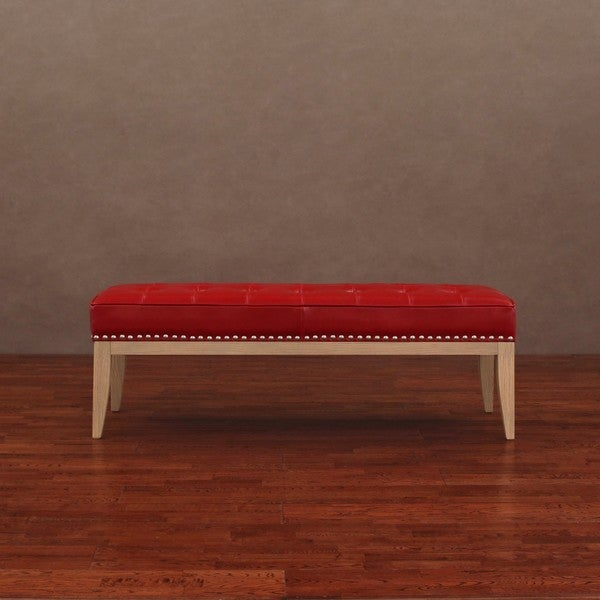 Valencia Red Leather Nail Head Bench 13952942 Shopping Great Deals On Benches