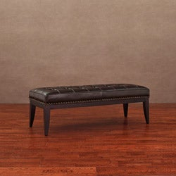 Valencia Dark Brown Leather Nail Head Bench